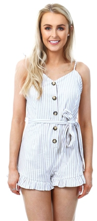 Brave Soul Beige/White Stripe Button Playsuit  - Click to view a larger image