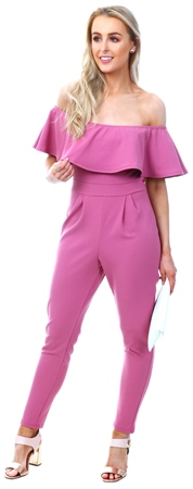 Lexie & Lola Pink Bardot Fitted Jumpsuit  - Click to view a larger image