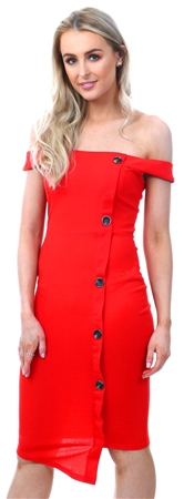 Ax Paris Red Button Front Bardot Dress  - Click to view a larger image