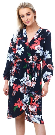 Ax Paris Navy Floral Wrap Over Dress  - Click to view a larger image