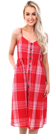 Qed Red Checked Button Up Dress  - Click to view a larger image