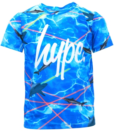 Hype Blue /Multi Laser Shark Script T-Shirt  - Click to view a larger image