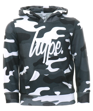 Hype Grey / White Mono Camo Kids Pullover Hoodie  - Click to view a larger image