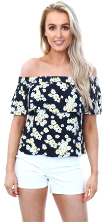 Only White Daisy Bardot Top  - Click to view a larger image