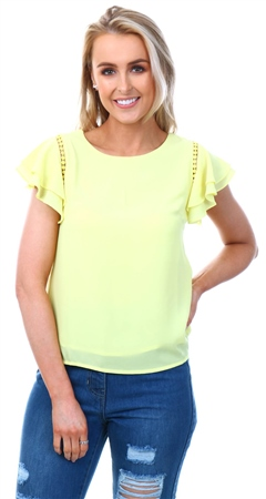 59ce3ff0a6f Cutie London Neon Yellow Crochet Frill Top - Click to view a larger image