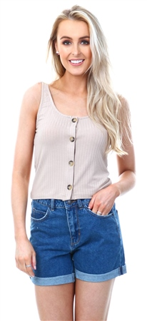 Vila Soft Camel Button Detailed Top  - Click to view a larger image