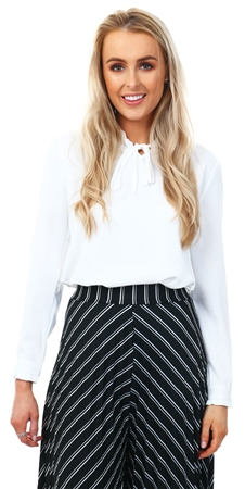 Cutie London White High Neck Frill Top  - Click to view a larger image