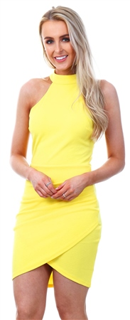 Ax Paris Yellow Choker Ruched Detail Dress  - Click to view a larger image