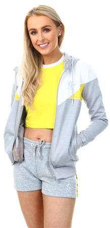 Gym King Grey/White/Yellow Ellie Poly Tracksuit Top  - Click to view a larger image