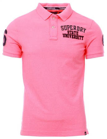 Superdry Fluro Pink Superstate Pique Polo Shirt  - Click to view a larger image