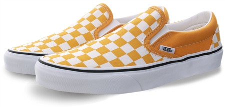 Vans Yolk Yellow Checkerboard Classic Slip-On Shoes  - Click to view a larger image