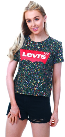 2ec031dd3 Levi's All Over Ditsy - Black Graphic Cropped Tee - Click to view a larger  image