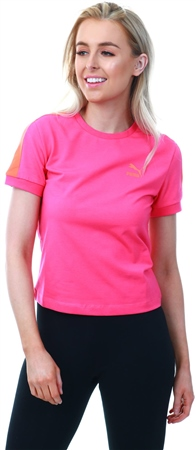 Puma Fuchsia Purple Classics Tight T7 Women's Tee  - Click to view a larger image