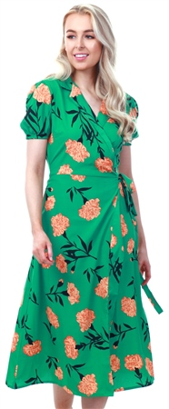 Influence Green Wrap Floral Midi Dress  - Click to view a larger image