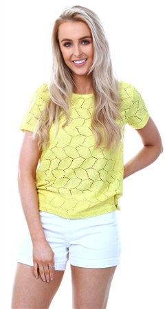 Jdy Green Sheen Detailed Short Sleeved Top  - Click to view a larger image