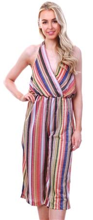 Ax Paris Multi Stripe Halterneck Culotte Jumpsuit  - Click to view a larger image