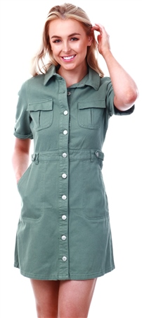 34ebe10992df7a Urban Bliss Khaki Cargo Pocket Button Up Dress - Click to view a larger  image