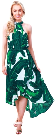 Ax Paris Green Leaf Pattern Halter Neck Midi Dress  - Click to view a larger image
