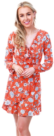 Missi Lond Orange Floral Frill Wrap Dress  - Click to view a larger image