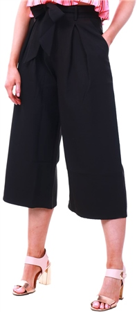 Missi Lond Black Culotte Belted Trousers  - Click to view a larger image