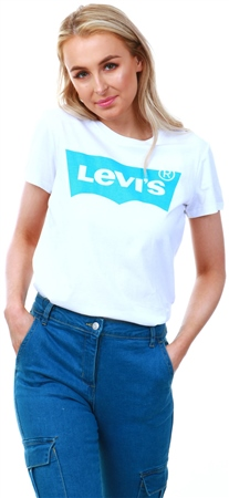 Levi's ® Blue & White - White Perfect Logo Tee  - Click to view a larger image