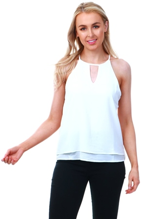 Only Cloud Dancer / White Detailed Sleeveless Top  - Click to view a larger image