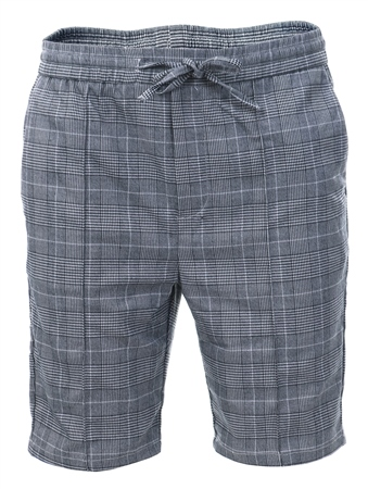 Kings Will Dream Grey/White Check Flick Tapered Fit Shorts  - Click to view a larger image