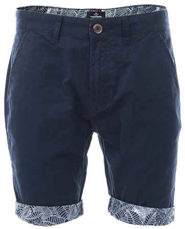 Threadbare Navy Byron Pattern Cuff Shorts  - Click to view a larger image
