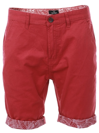 Threadbare Red Byron Pattern Cuff Shorts  - Click to view a larger image