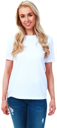 Pieces White Ria Plain Short Sleeve T-Shirt  - Click to view a larger image