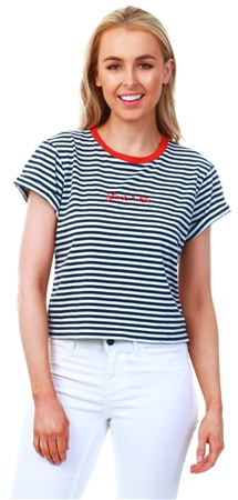 3e5aad1cc Jack Wills White / Navy Milsom Cropped T-Shirt - Click to view a larger