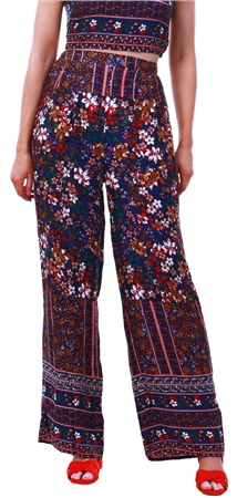 Parisian Floral Printed Pattern Wide Leg Trouser  - Click to view a larger image