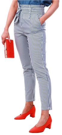 Veromoda White/Navy Striped Paperbag Trousers  - Click to view a larger image