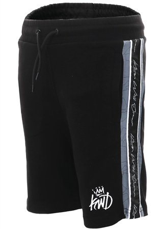Kings Will Dream Black Newland Side Panel Shorts  - Click to view a larger image
