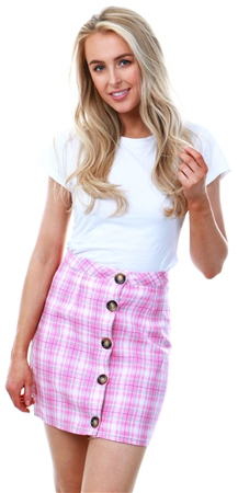 Parisian Pink Checked Button Mini Skirt  - Click to view a larger image