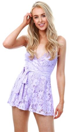 Parisian Lilac Floral Lace Wrap Front Waist Tie Playsuit  - Click to view a larger image