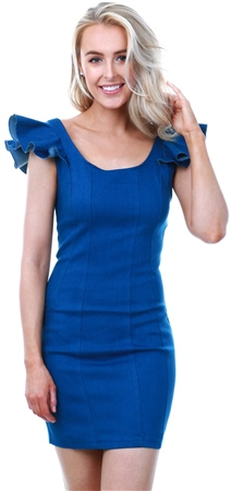 Parisian Blue Frill Detail Scoop Neck Denim Mini Dress  - Click to view a larger image