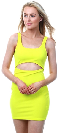 Parisian Yellow Front Cut Out Mini Bodycon Dress  - Click to view a larger image