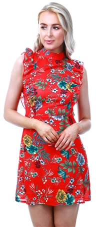 Parisian Red Floral Print Sleeveless Dress  - Click to view a larger image