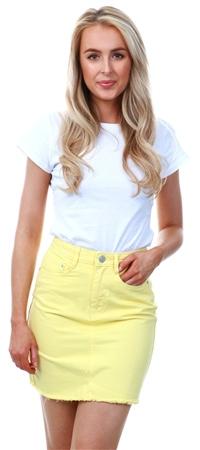 Brave Soul Lemon Denim Mini Skirt  - Click to view a larger image