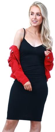 Parisian Black Rib Plunge Neck Cami Dress  - Click to view a larger image