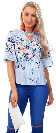 f760f108e2c2 Style London Blue Stripe Floral Pattern Shirt