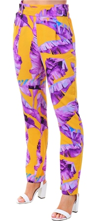 Jdy Purple / Mustard Floral Print Trouser  - Click to view a larger image