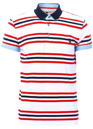 Alex & Turner White Red/ Navy Stripe Polo Shirt  - Click to view a larger image
