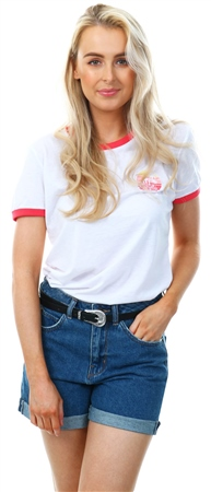 Brave Soul White Ringer Embroidery Logo T-Shirt  - Click to view a larger image