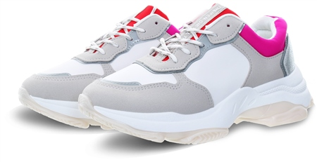 No Doubt White Rosso Panel Chunky Trainer  - Click to view a larger image