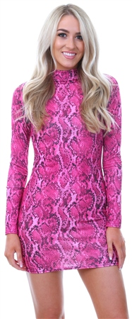 Parisian Pink Snake Print Bodycon Dress  - Click to view a larger image