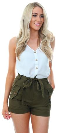 Parisian Khaki Waist Tie Button Shorts  - Click to view a larger image