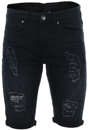 Enzo Black Distressed Skinny Shorts  - Click to view a larger image