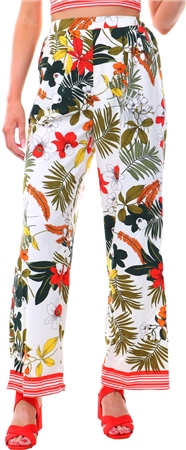 Parisian White Floral Border Wide Leg Trousers  - Click to view a larger image